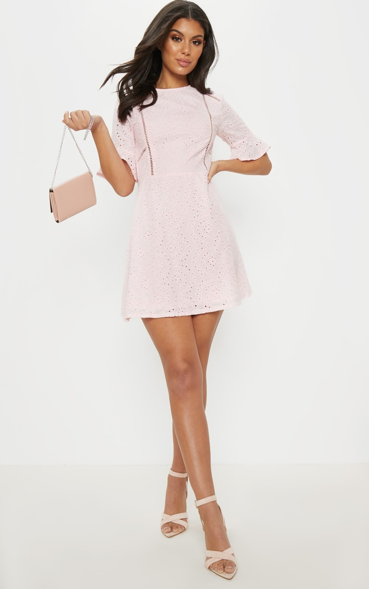 Pink Broderie Anglaise Frill Sleeve Skater Dress 4