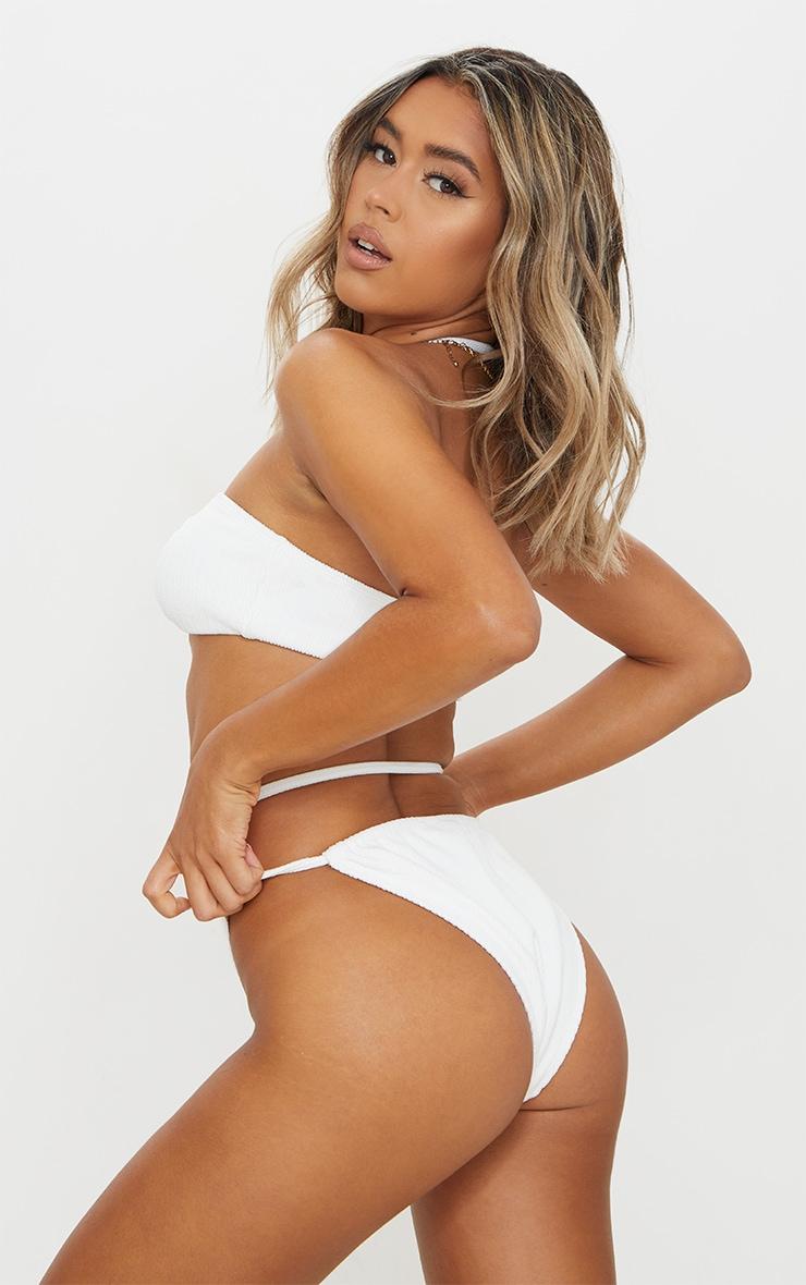 White Mini Crinkle Halterneck Bikini Top 2