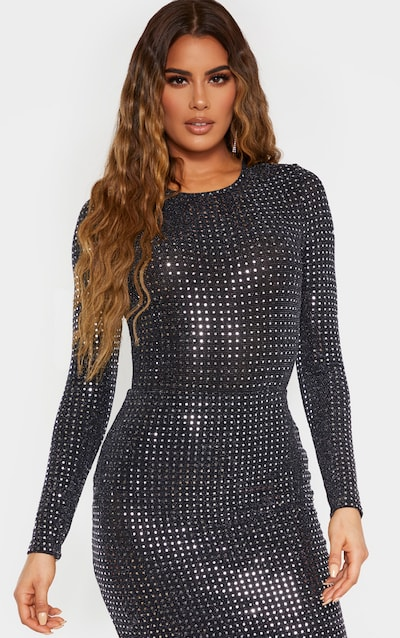 Tall Black Sequin Long Sleeve Scoop Neck Bodysuit