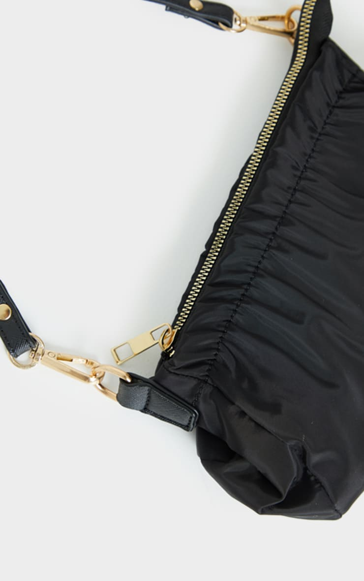 Black Mini Ruched Shoulder Bag 4