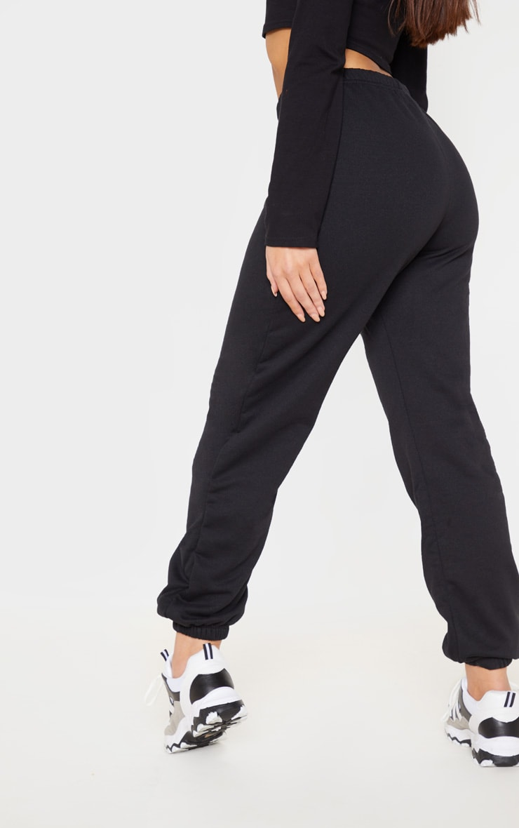 Black Basic Cuffed Hem Track Pants 5