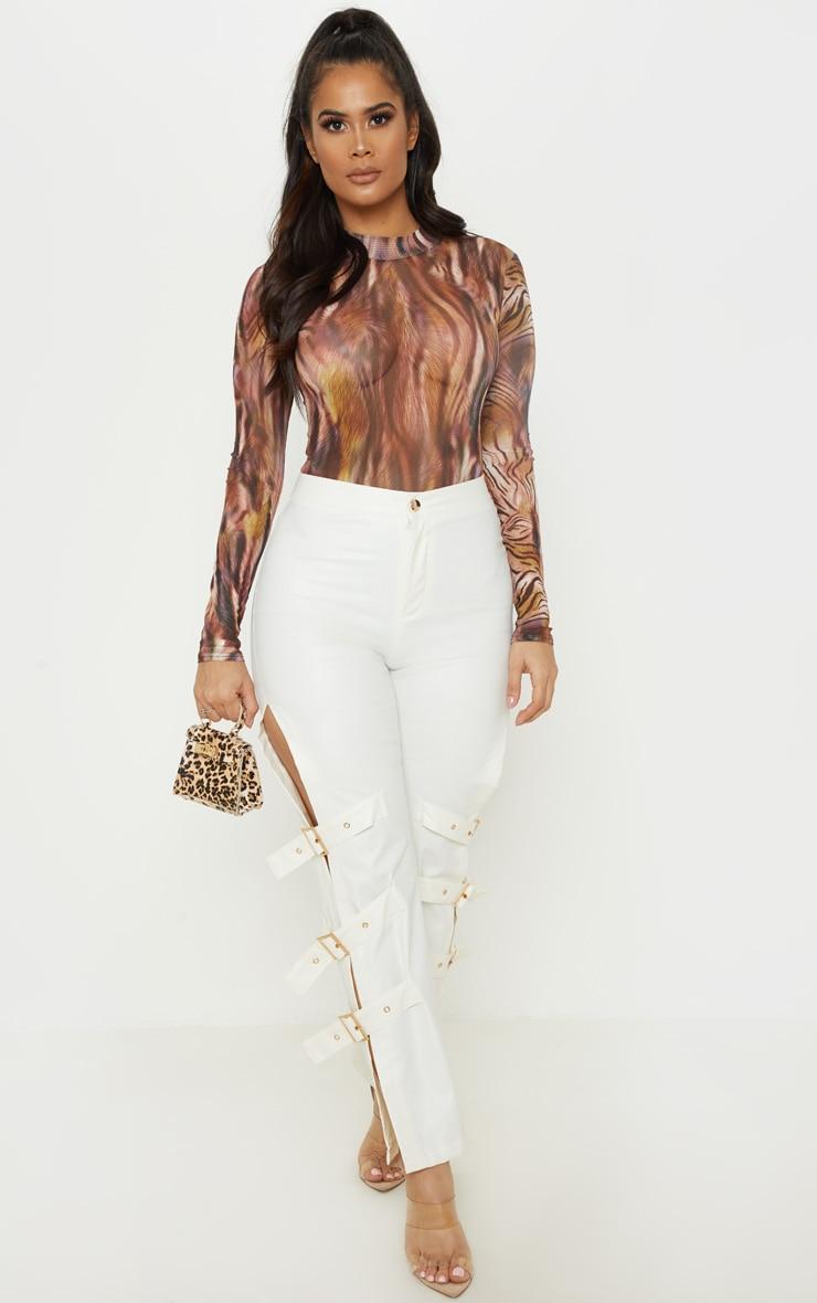 Brown Printed Mesh High Neck Long Sleeve Bodysuit 5