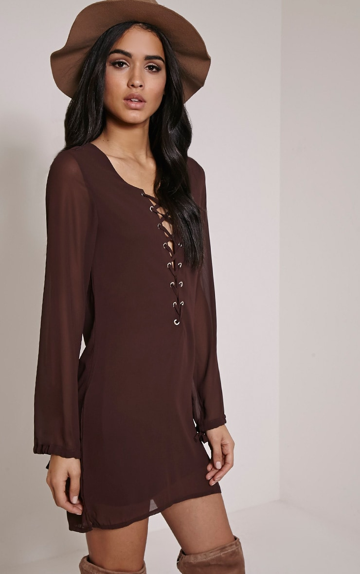 Pammy Chocolate Brown Lace Up Shift Dress 4