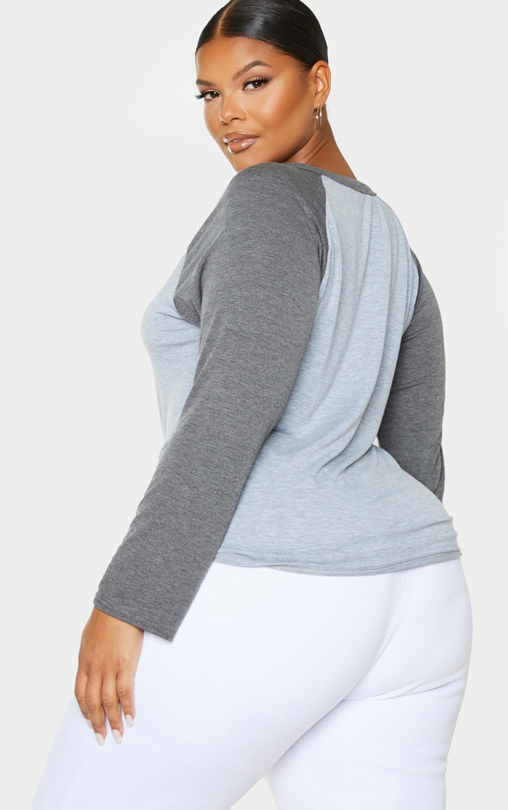 Plus Grey Graphic Long Sleeve Jersey T Shirt 2