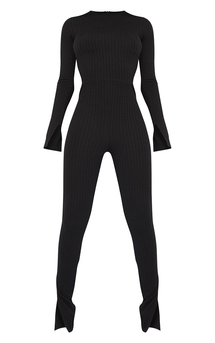 Tall Black Knitted Long Sleeve Split Hem Jumpsuit 5