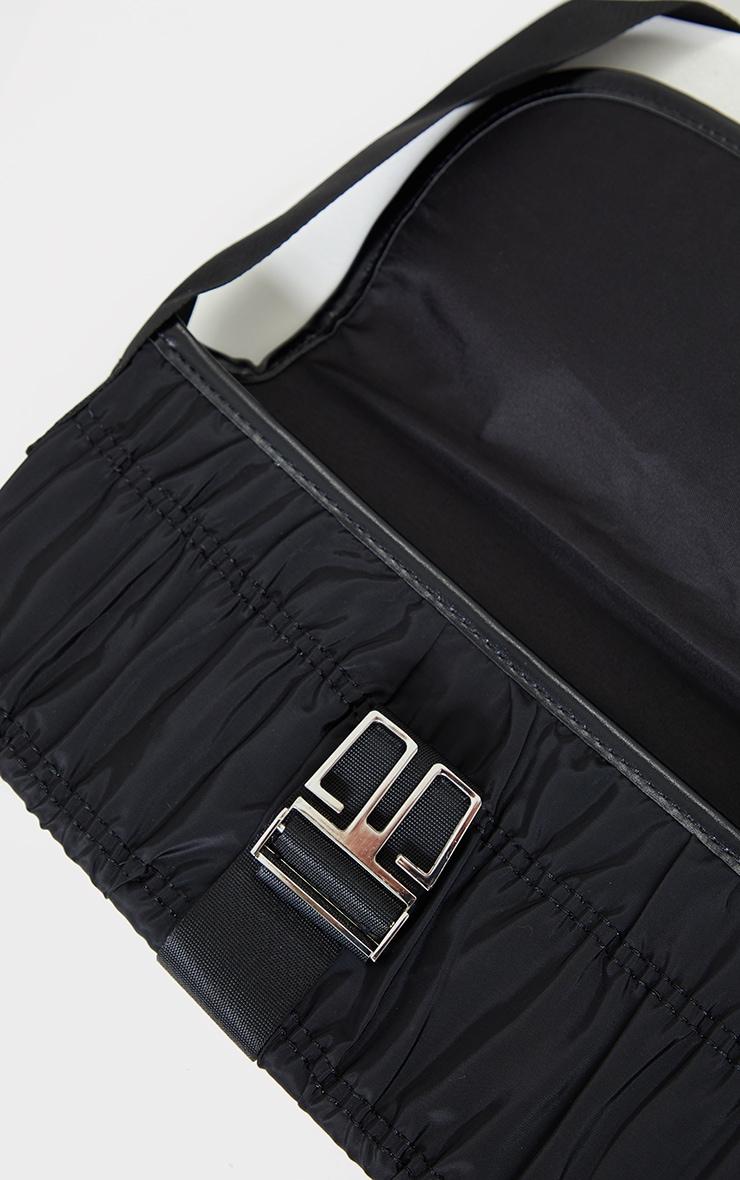 Black Ruched Front Buckle Shoulder Bag 3