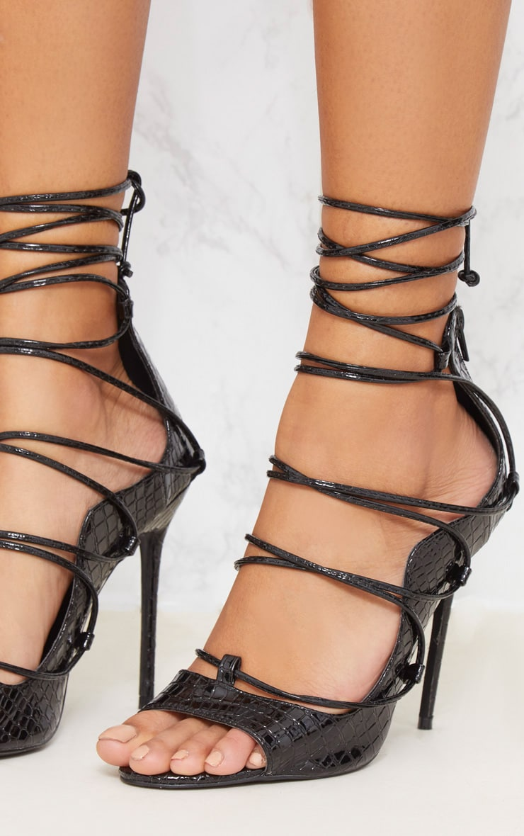 Black Ankle Lace Up Heel  5