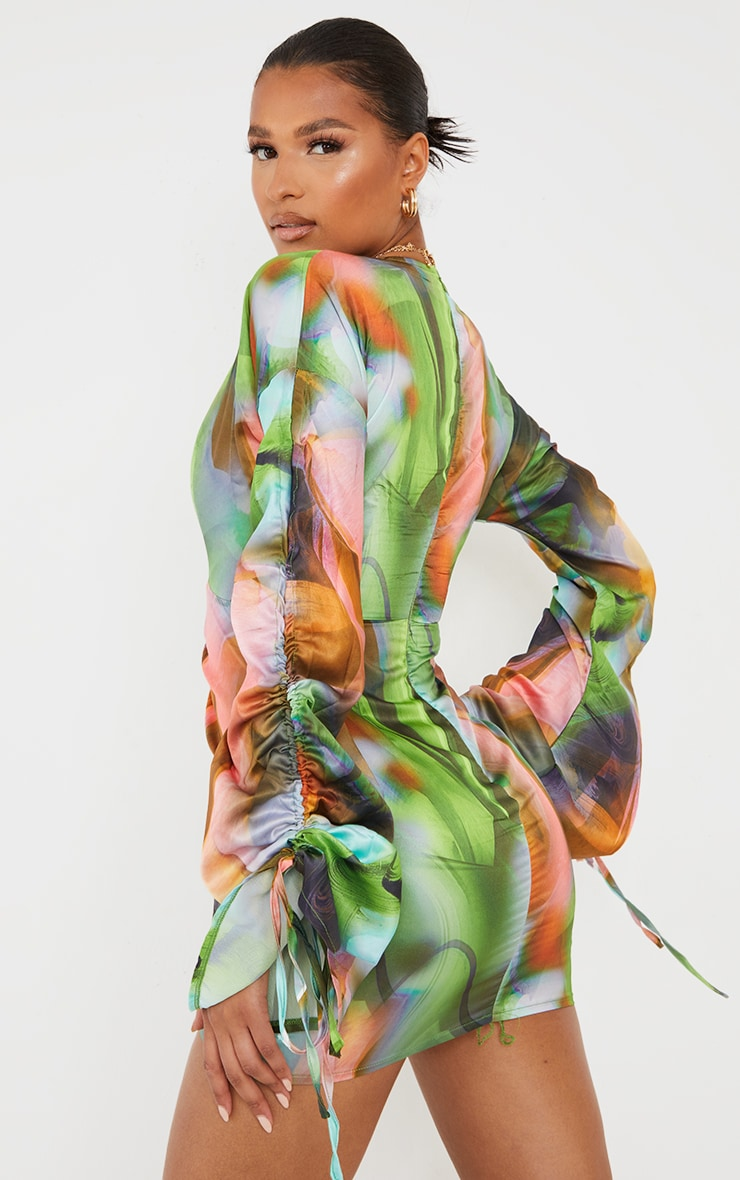 Green Abstract Print Satin Plunge Ruched Front Dress 2