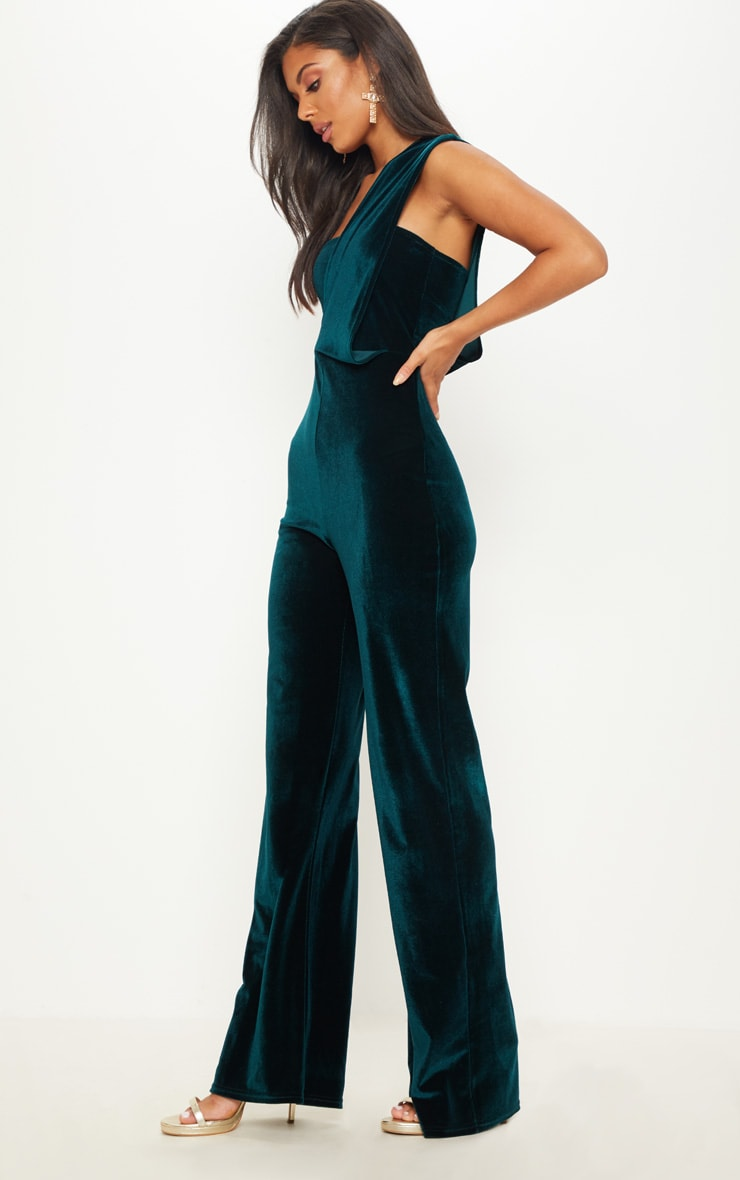 Emerald Green Velvet Drape One Shoulder Jumpsuit 4
