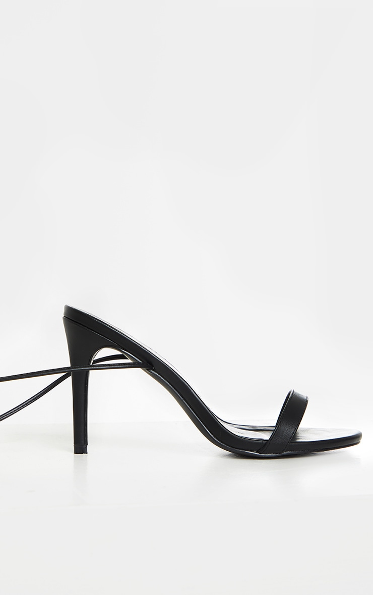 Black Wide Fit Barely There Ankle Tie Strappy Sandals 4