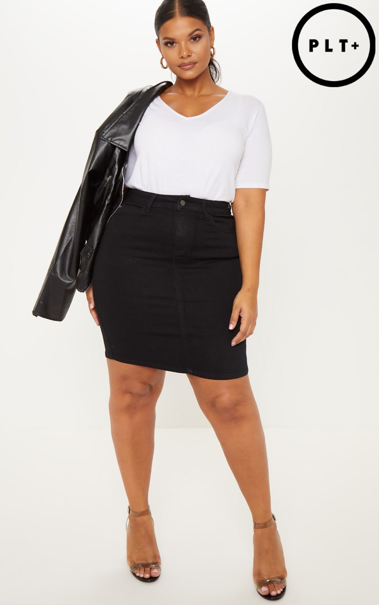 Plus Charcoal Denim Skirt