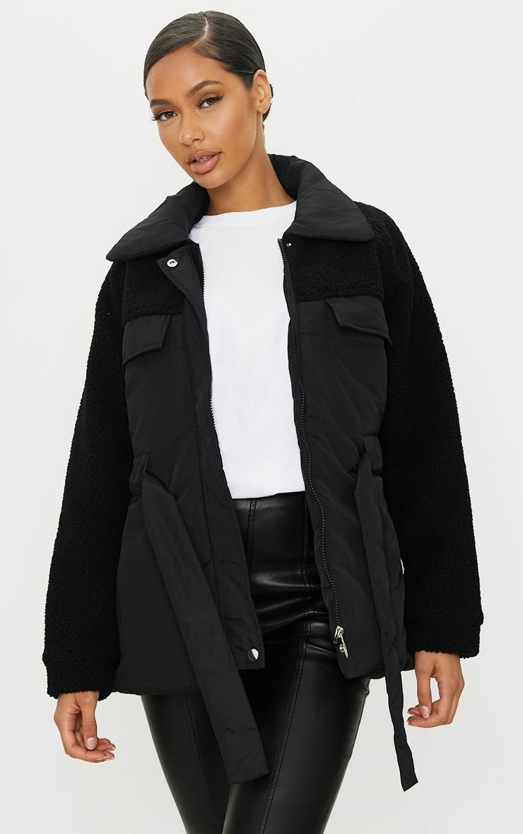 Black Nylon Contrast Borg Cinched Waist Puffer Jacket 1