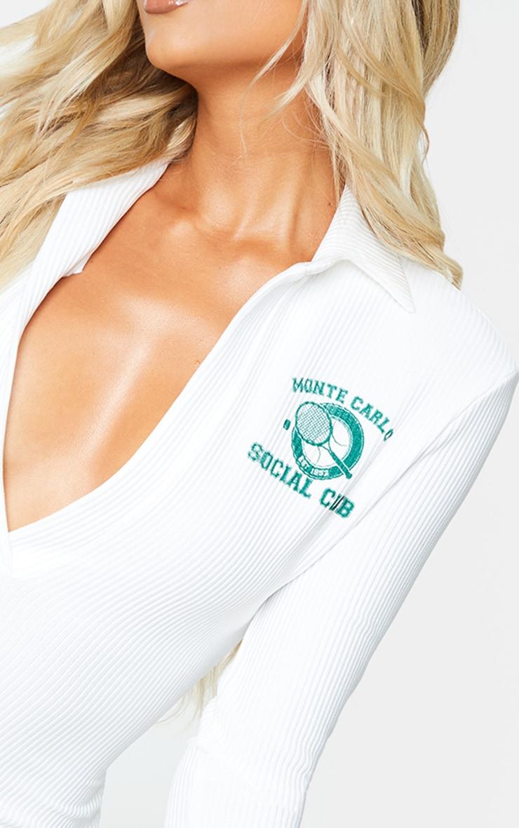 White Rib Tennis Print Long Sleeve Polo Bodycon Dress 4