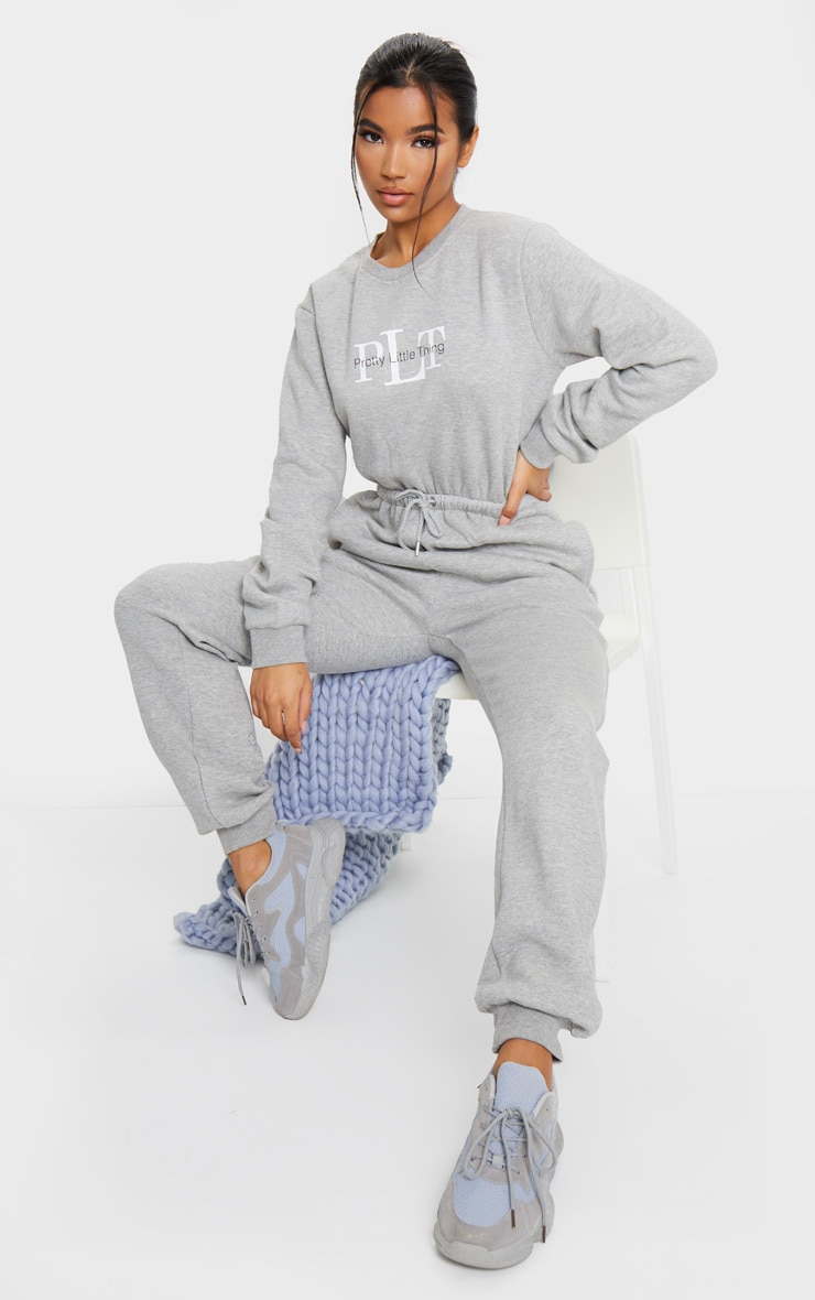 PRETTYLITTLETHING Grey Printed Sweat Jumpsuit 1