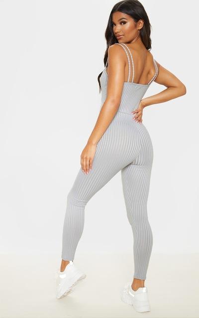 Grey Rib Double Strap Jumpsuit