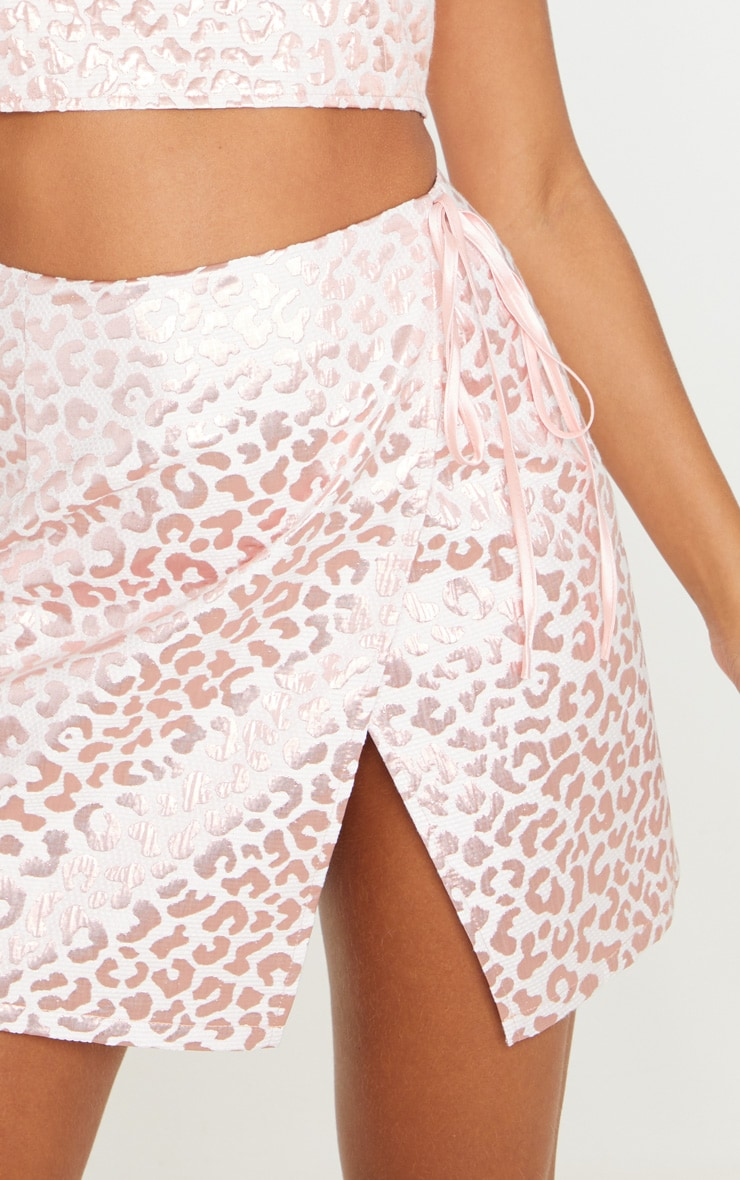 Pink Foil Print Oriental Wrap Detail Mini Skirt 5