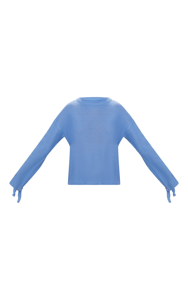 Blue Lace Up Sleeve Jumper 3