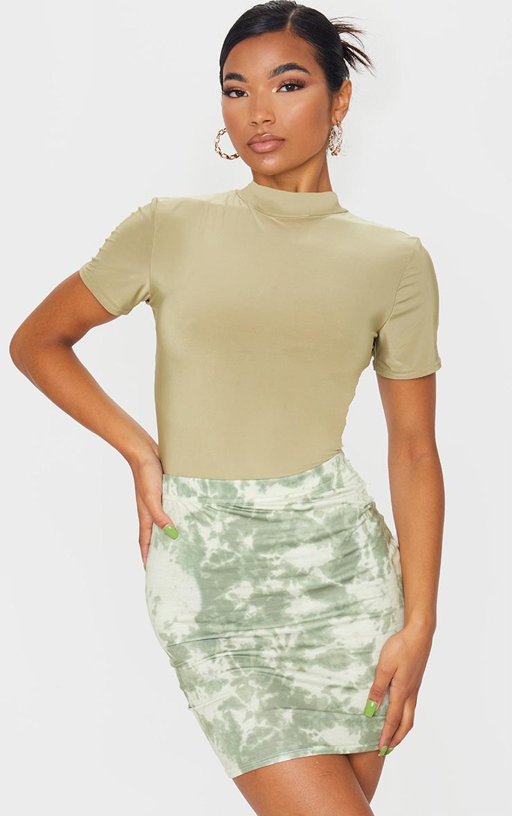 Sage Green Basic Tie Dye Mini Skirt 1