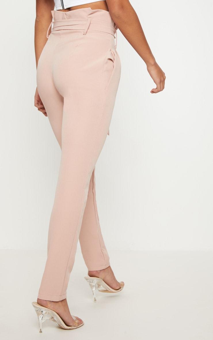 Petite Blush Paperbag Waist Trousers 4