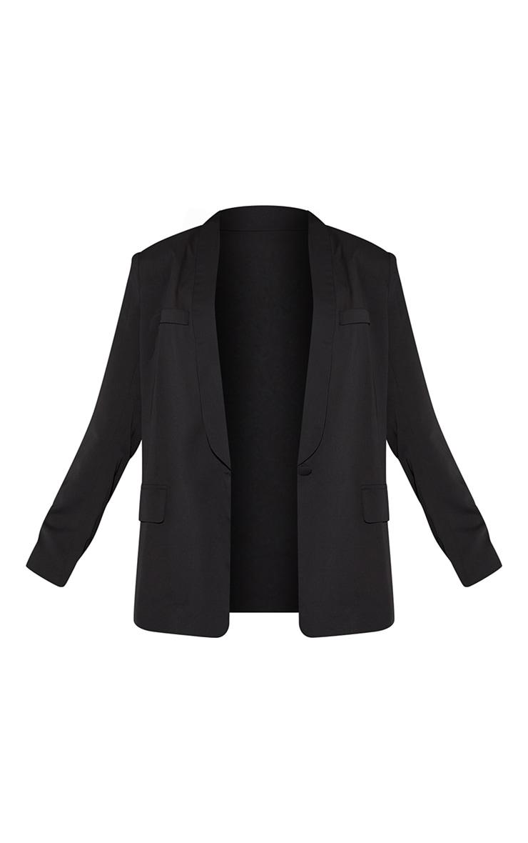 Black Curved Lapel Woven Longline Blazer 5