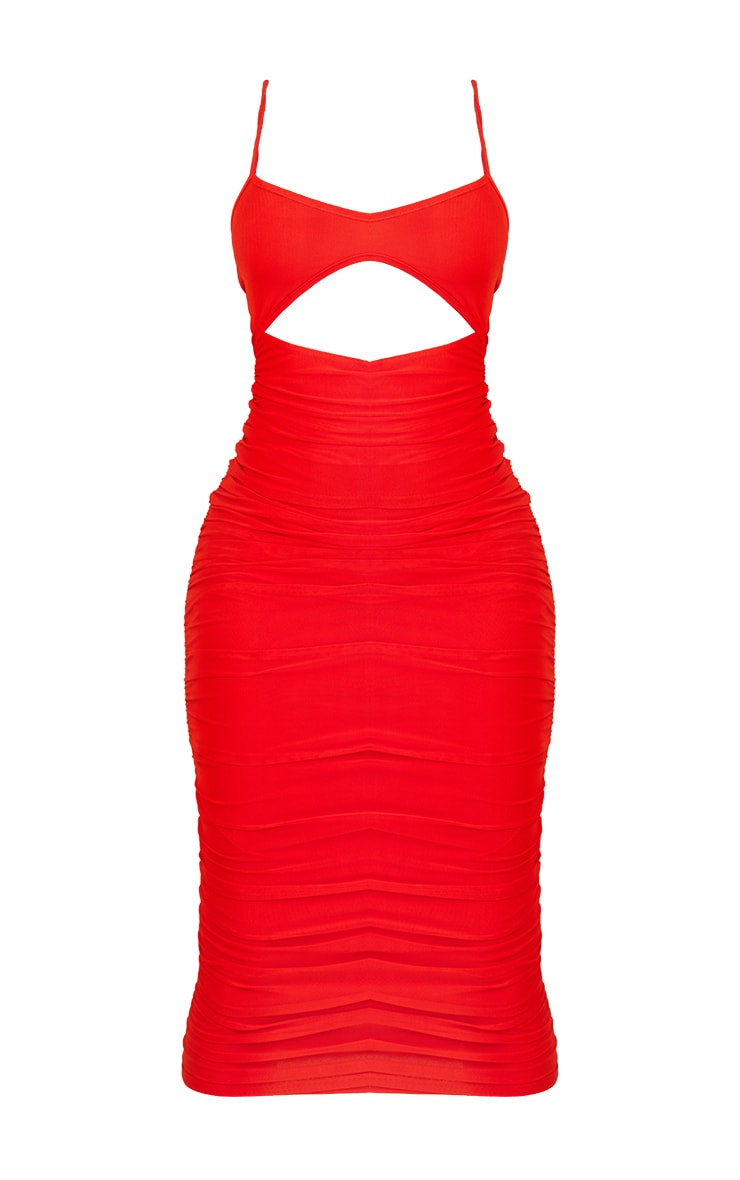 Shape Red Mesh Cut Out Ruched Midaxi Dress 5