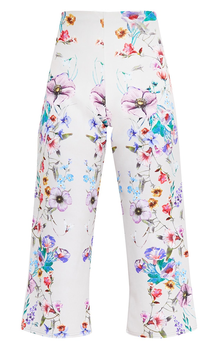 Grey Floral Placement Print Culottes 2