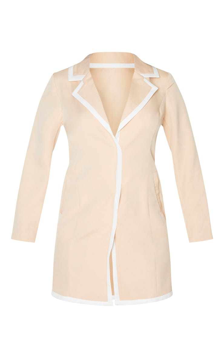 Nude Contrast Lapel Detail Blazer Dress 4