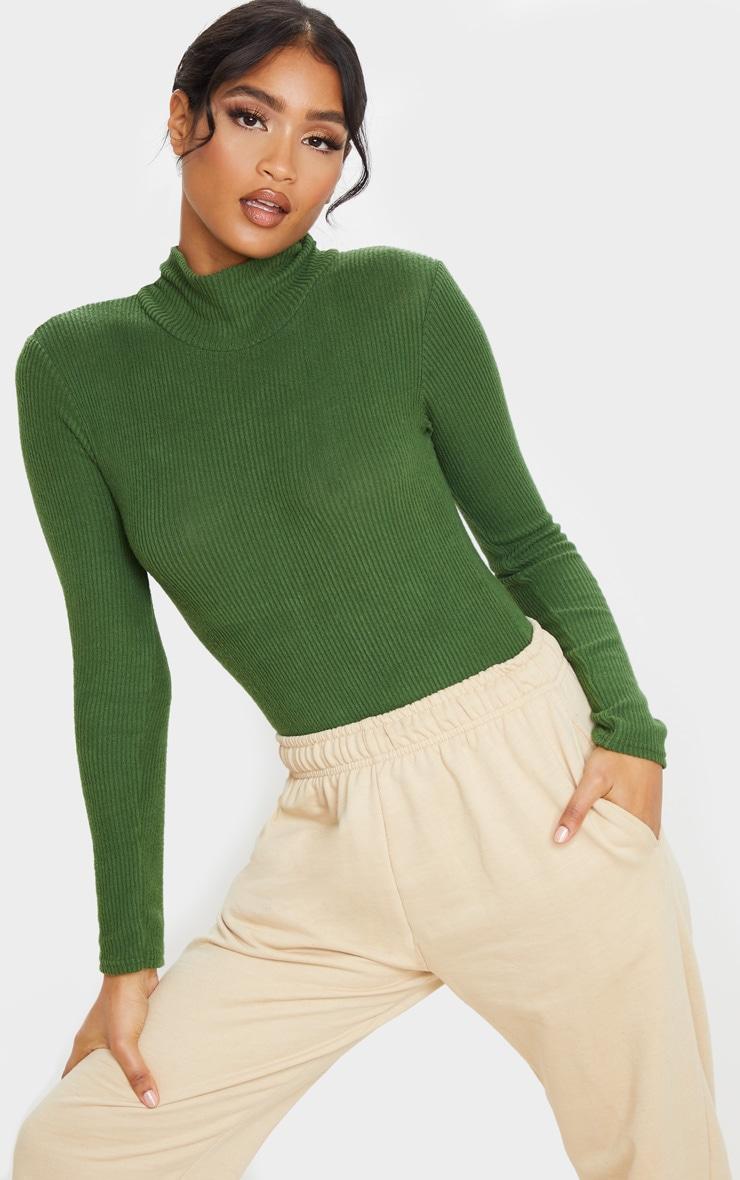 Olive Khaki Brushed Rib Roll Neck Long Sleeve Bodysuit 1