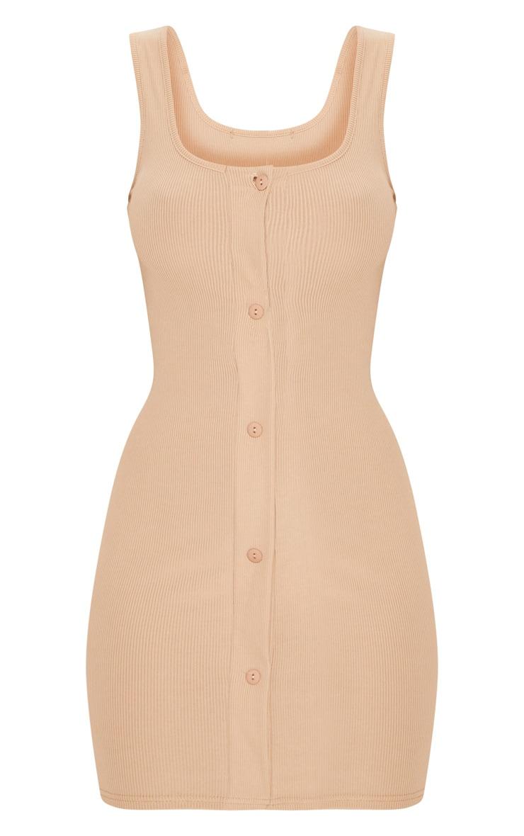 Stone Ribbed Button Detail Bodycon Dress 3