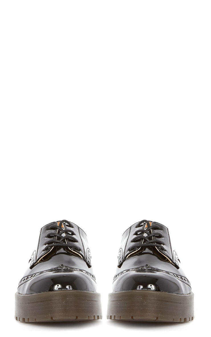 Taja Black Patent Brogue  4