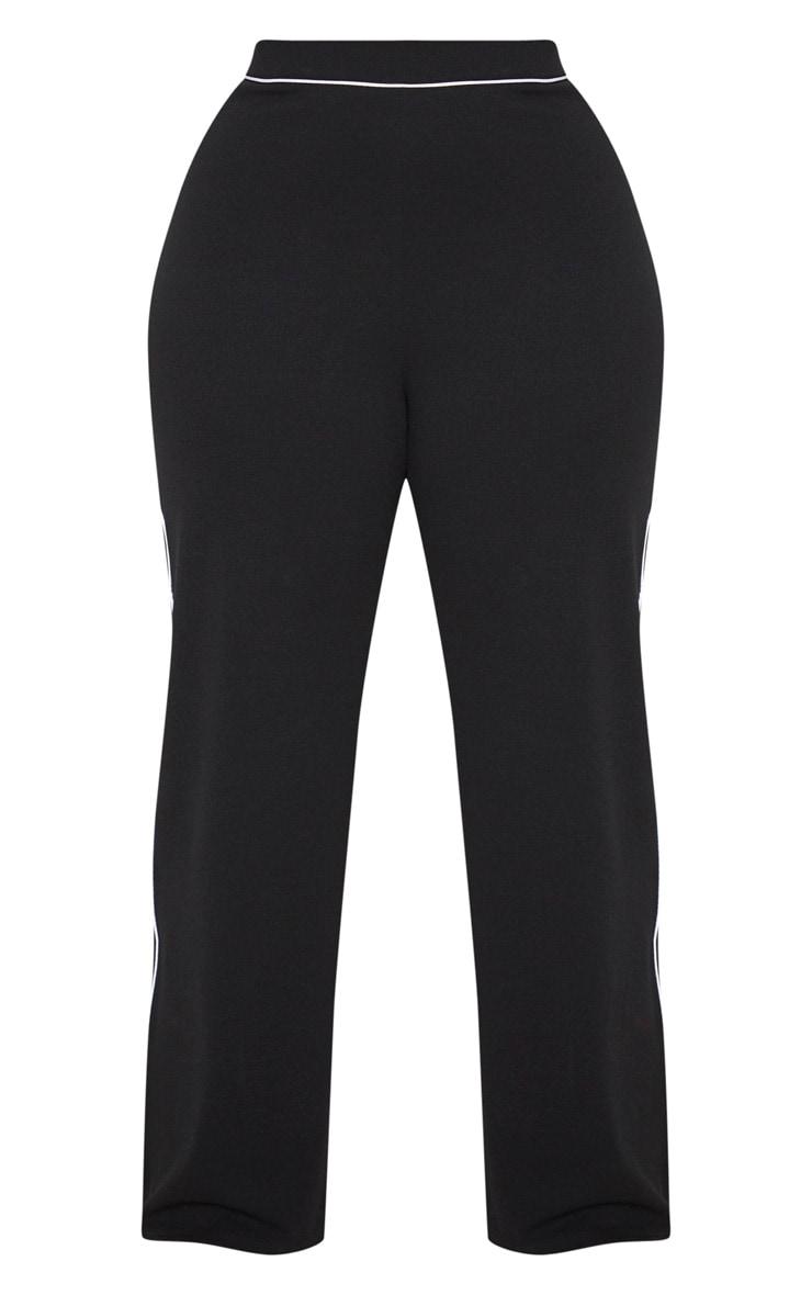 Plus Black Contrast Seam Detail Wide Leg Trousers 3