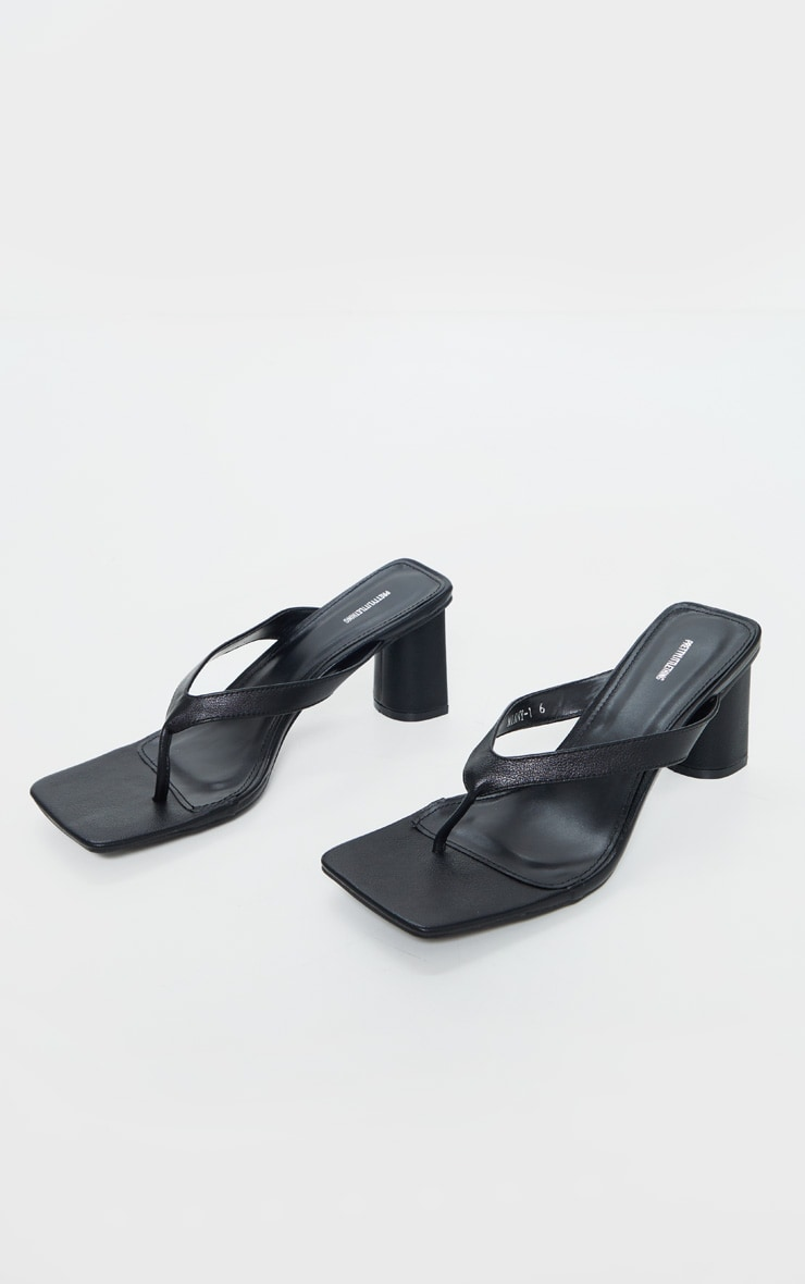 Black Toe Thong Extreme Square Toe Mid Block Heel Sandals 3