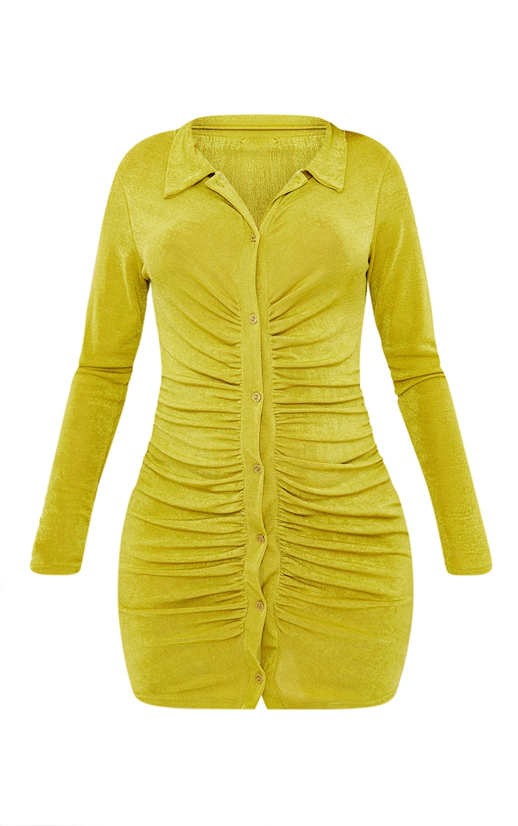 Maternity Lime Textured Slinky Collar Dress 5