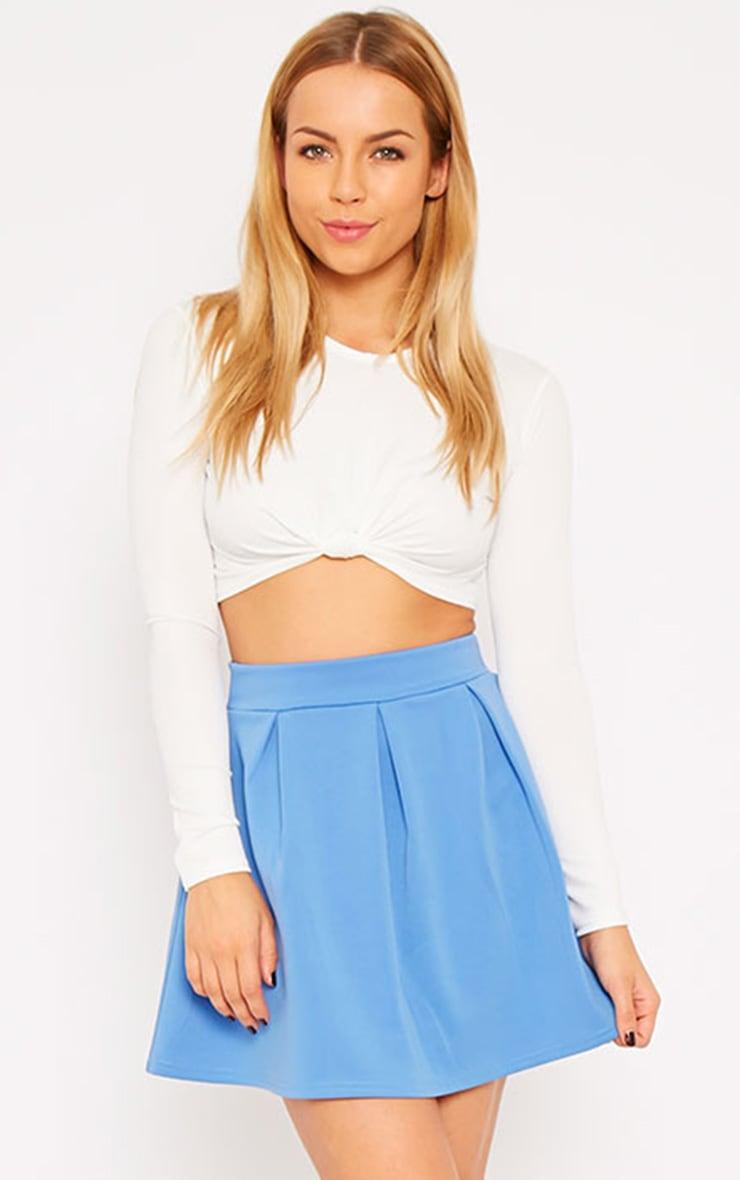 Astrid Blue Pleated Scuba Skater Skirt 1