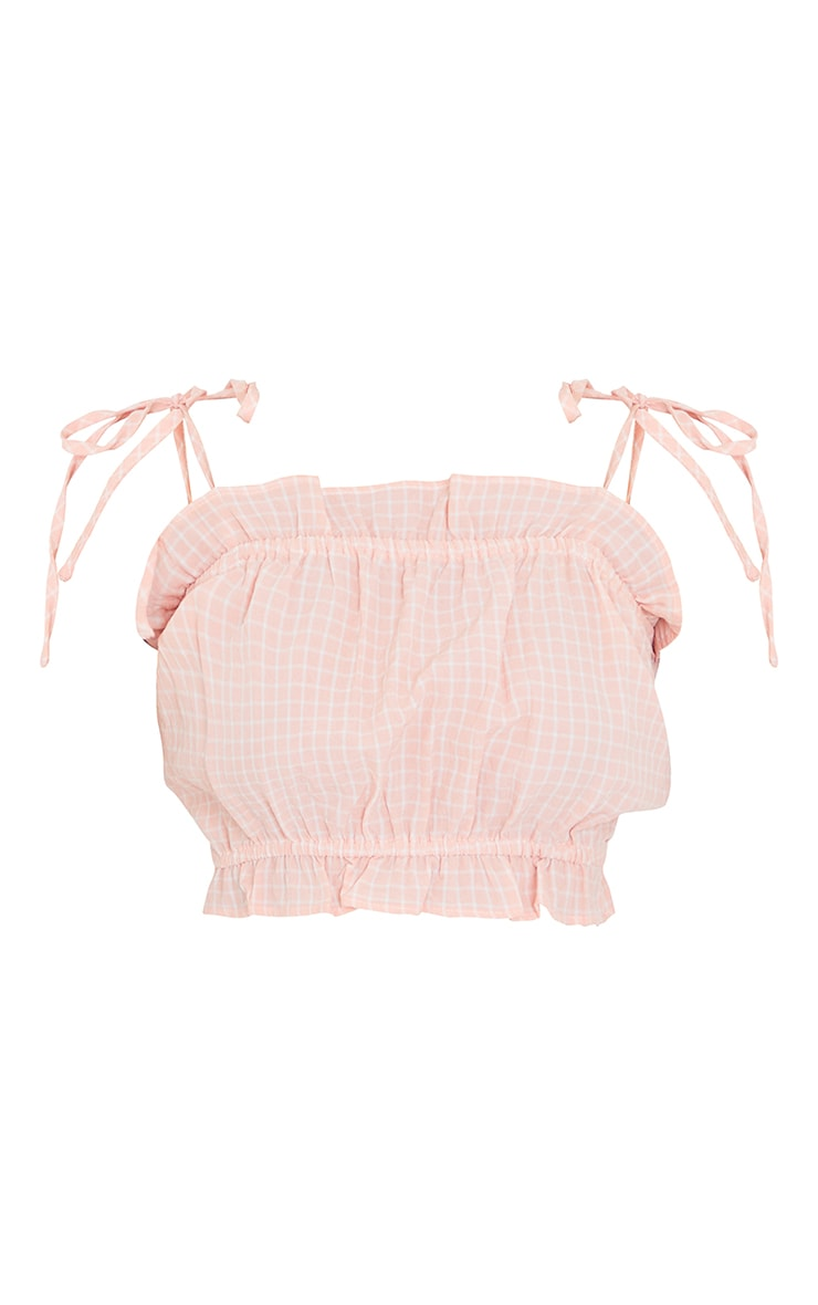 Petite Coral Strappy Ruffle Crop Blouse 5