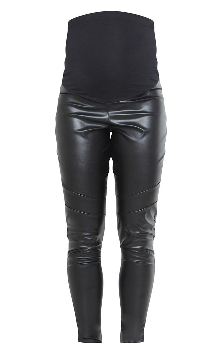 Maternity Black Faux Leather Over Bump Leggings 5
