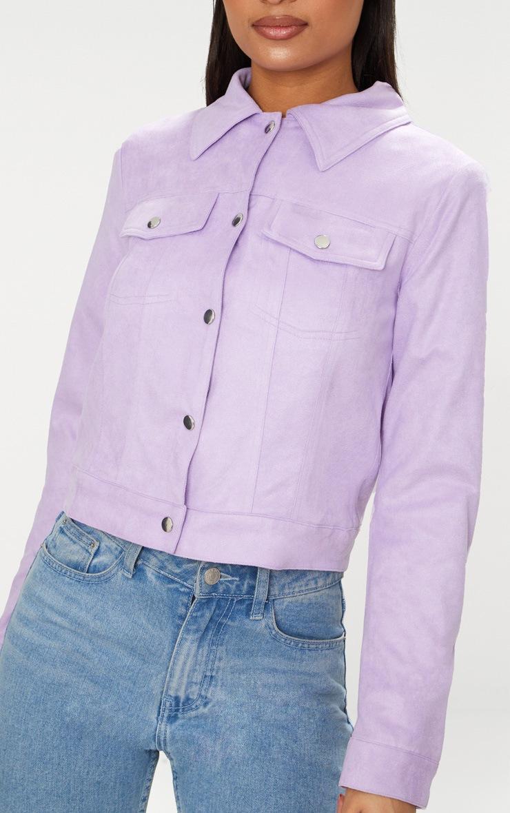 Lilac Faux Suede Trucker Jacket 5