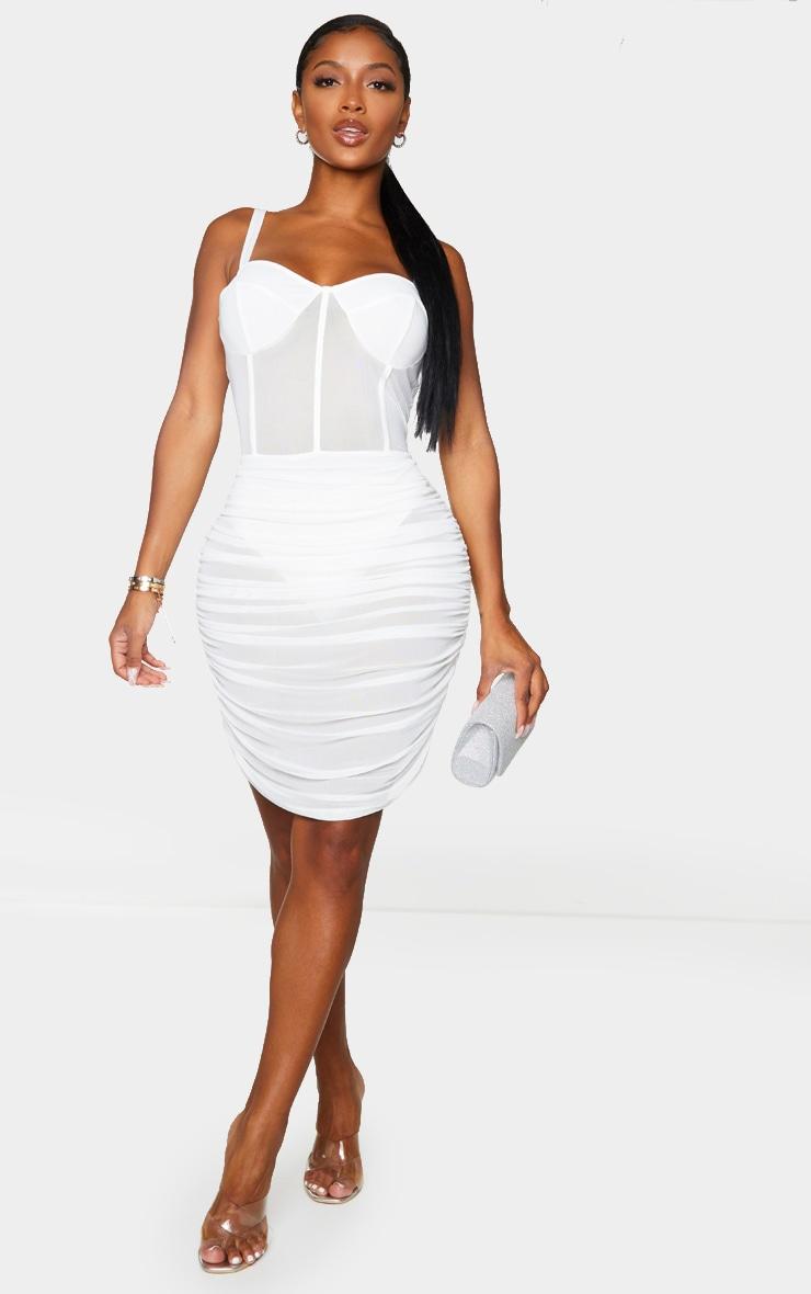 Shape White Mesh Cup Detail Binding Bodycon Dress 3