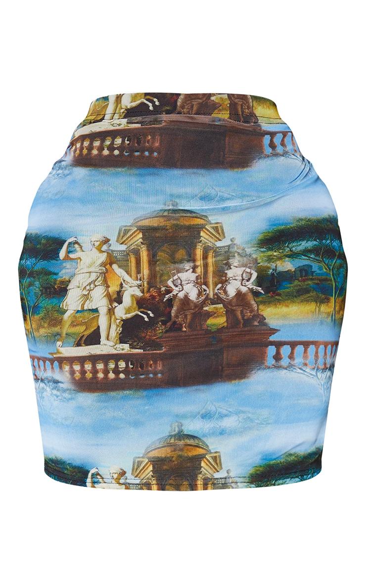 Shape Blue Renaissance Print Bodycon Skirt 6