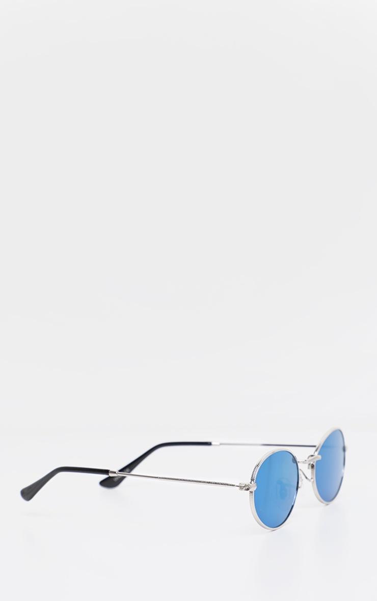 Blue Revo Metal Oval Sunglasses 3
