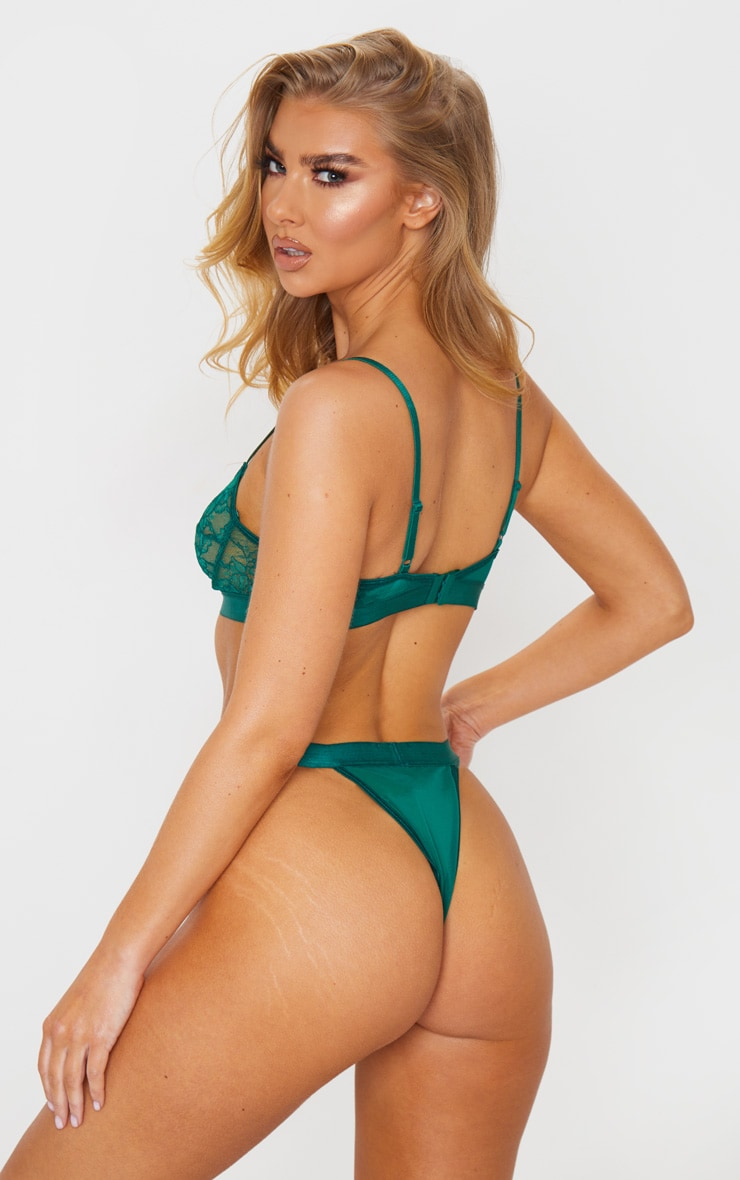 Emerald Green Delicate Lace Underwired Bra And Knicker Set 2