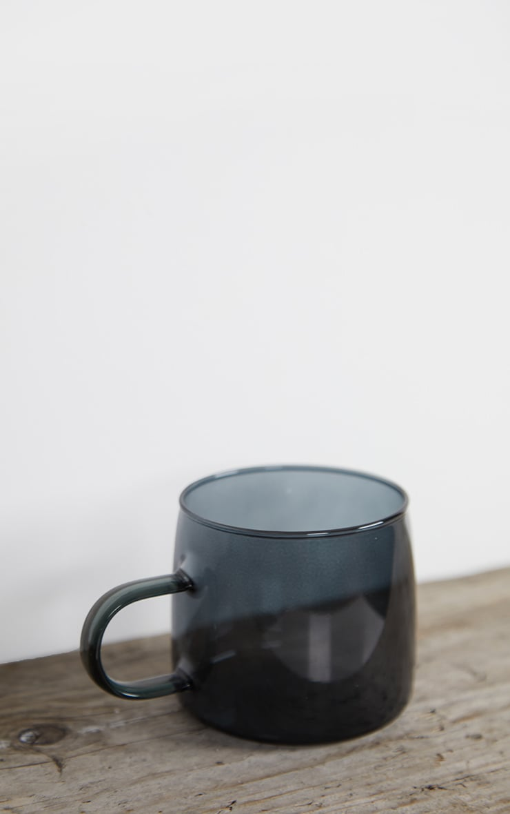 Black Glass Mugs Set Of 2 3