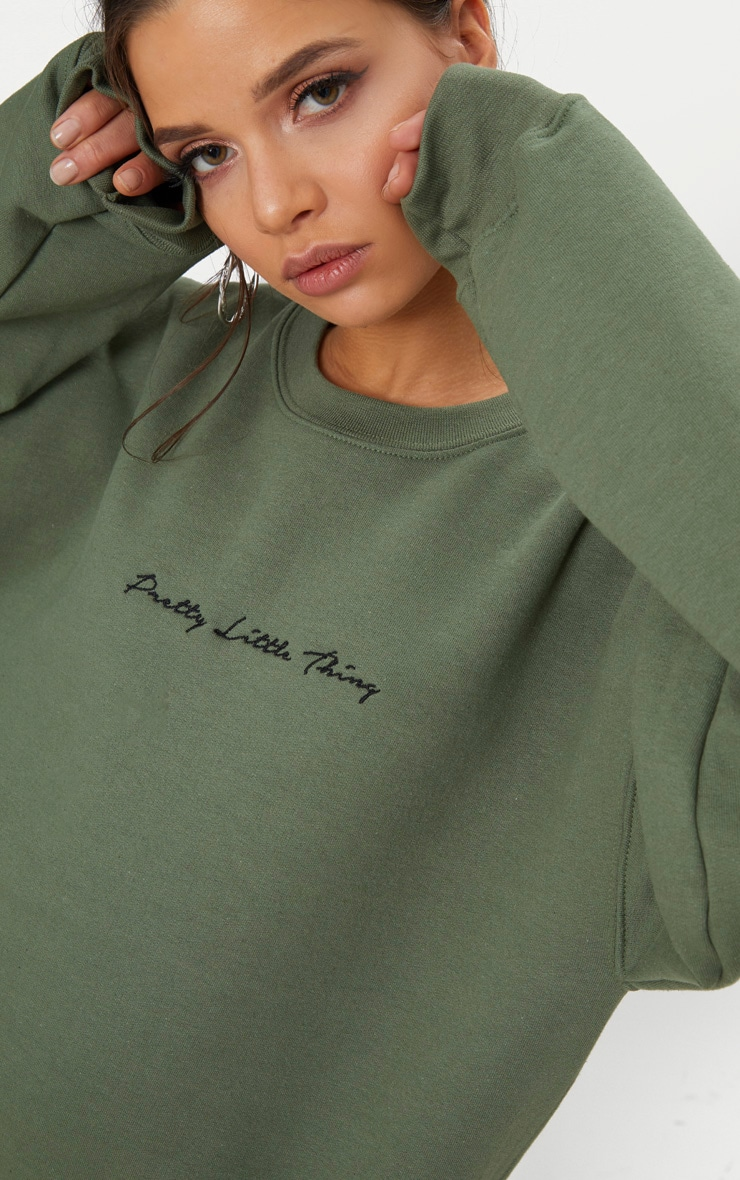 PRETTYLITTLETHING Recycled Khaki Oversized Sweatshirt 4