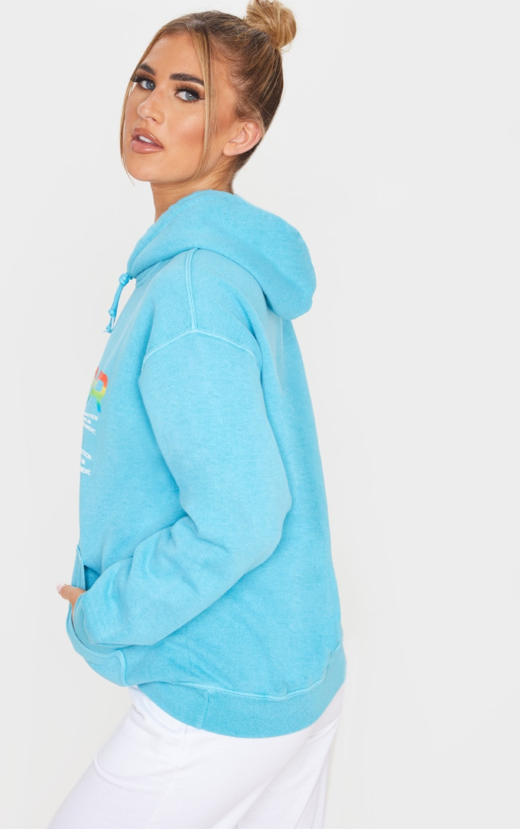 Dusty Turquoise Error Slogan Oversized Hoodie 2