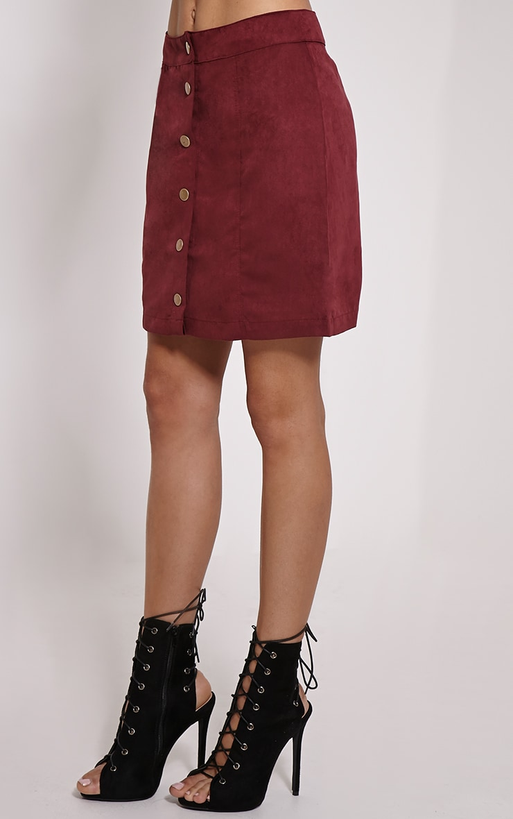 Cheryl Oxblood Suede Button Front Skirt 3