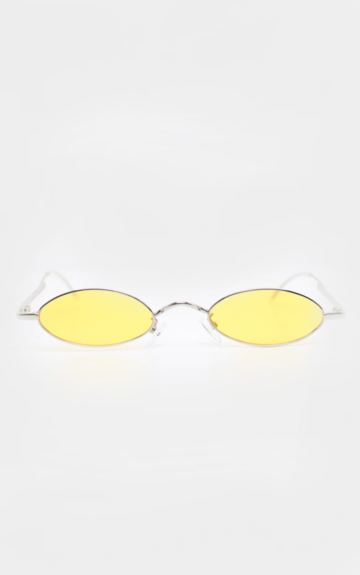 Yellow  Slim Metal Frame Oval Sunglasses 2