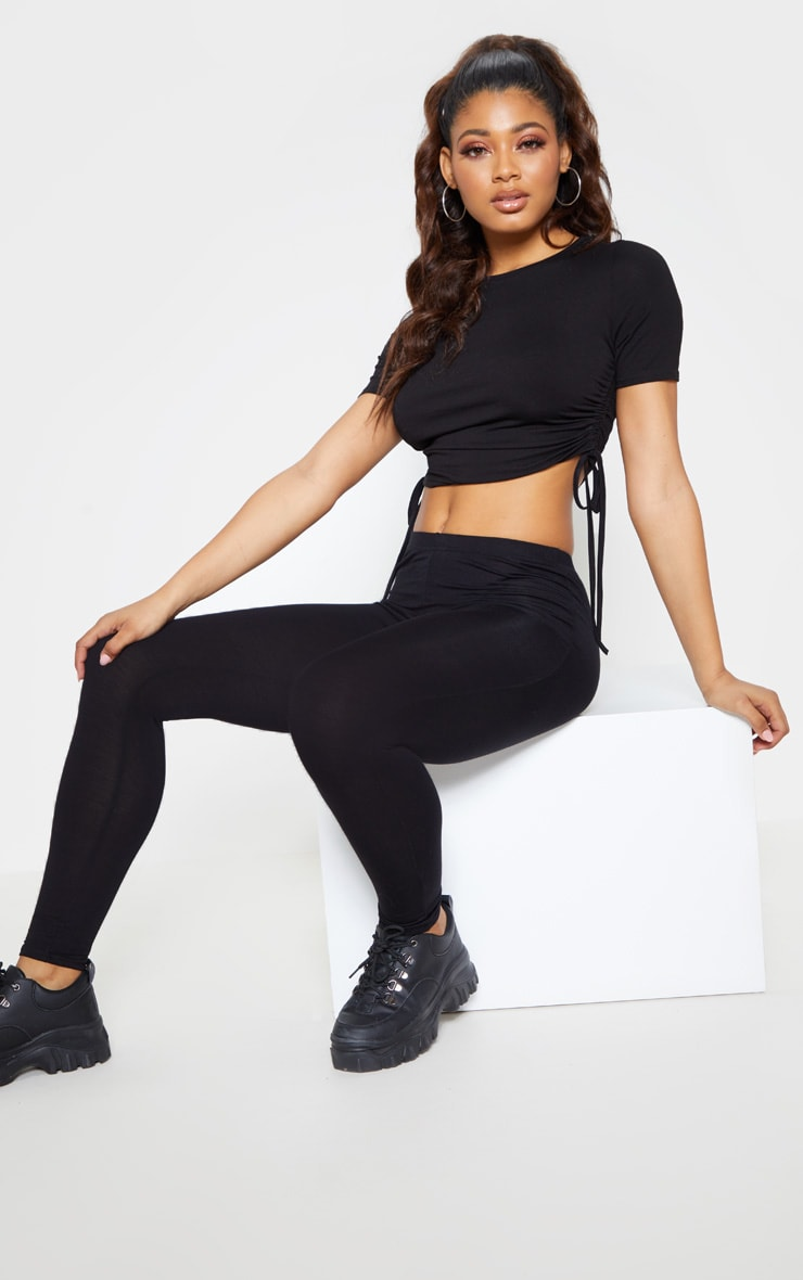 Tall Black Ruched Side Crop T-Shirt  4
