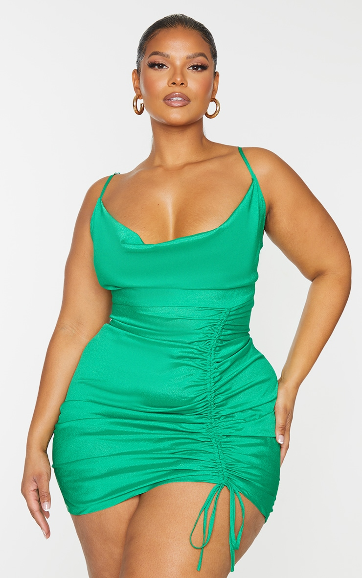 Plus Bright Green Cowl Ruched Front Bodycon Dress 3