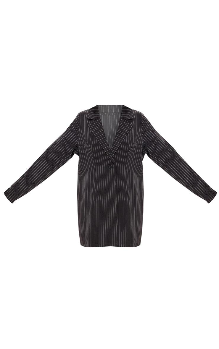 Black Pinstripe Oversized Woven Blazer 3