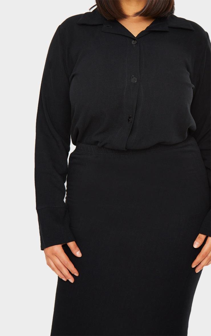 Black Woven Longline Shirt 4